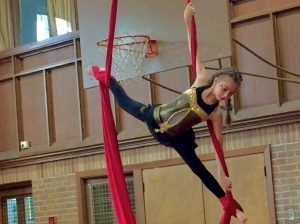 Student on Silks in TCC End of Year Show Spring 2017
