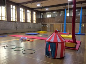 Circus gear set up in the interior of our Leaside location